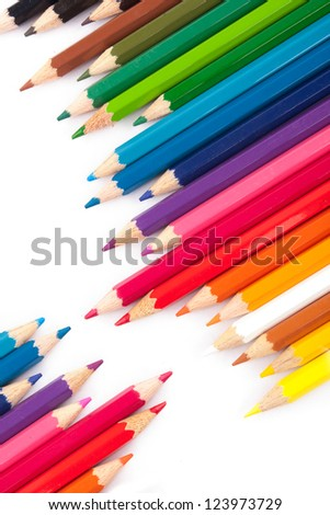 Colorful pencils in a diagonal row