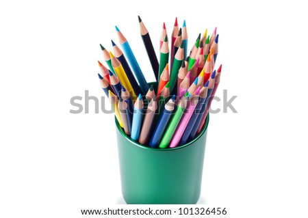 colorful pencils in green holder isolated on white background - stock photo