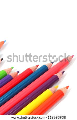 Colorful pencils on white