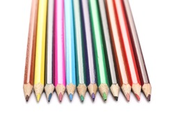 Colorful pencils set arrangement, row isolated on white background