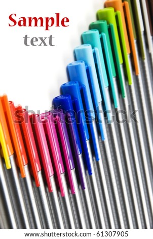Colorful pens abstract backround with space for text