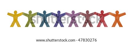 Colorful people standing in a row with clipping path