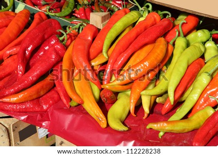 Colorful peppers at a fruit and vegetable market in Brasov, Romania
