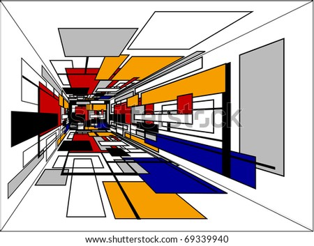colorful perspective  room