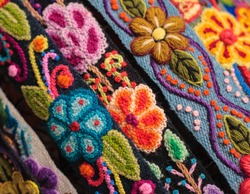 Colorful , peruvian rug textile.