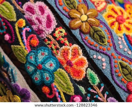 Colorful peruvian rug textile