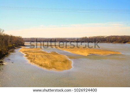 Colorful photo of sandbars on the Missouri River in Chesterfield Missouri.  - Shutterstock ID 1026924400