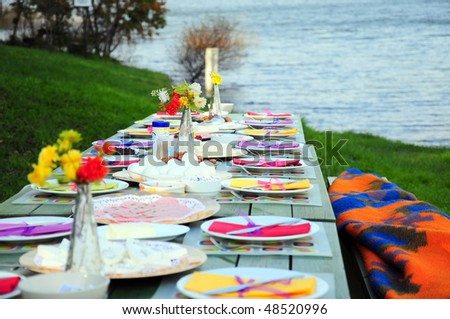 colorful picnic table by sea on green grass
