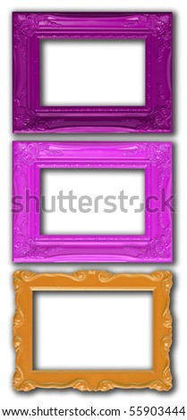 Colorful picture frames, isolated on white.