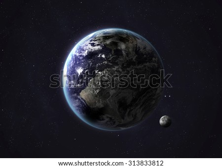 Colorful picture represents Earth and Moon. Elements of this image furnished by NASA.