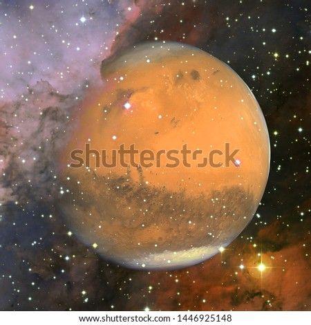 Colorful picture represents Mars, nebulas and galaxies in deep space. Elements of this image furnished by NASA