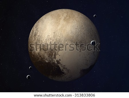 Colorful picture represents Pluto and its moons. Elements of this image furnished by NASA.