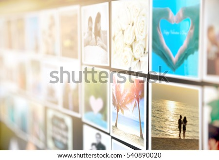 Colorful pictures of husband wife or boyfriend girlfriend magnets on the black board or wall. Photo of happy couple enjoy vacation times with good memories, Valentines day Concept. Focus on palm tree.