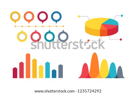 Colorful pie chart divided into four sections and two different bar graphs for representing statistics.  illustration isolated on white background