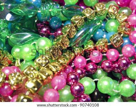 Colorful pile of Mardi Gras Beads
