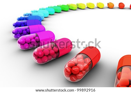 Colorful pill filled with text, message of healthy