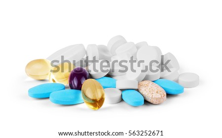 Colorful pills isolated on white background Zdjęcia stock ©