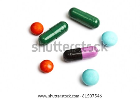 Colorful pills isolated on white background