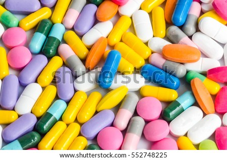 colorful pills medicine & antibiotics /tablets medicine