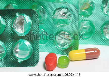 Colorful pills tablets and capsules