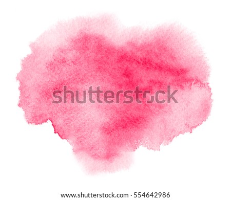 Colorful pink watercolor stain with aquarelle paint blotch for Valentine day or wedding