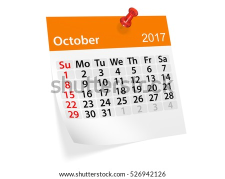 Colorful pinned note monthly calendar for October 2017. Set of monthly calendars for year 2017. Pinned note calendar series. 3d illustration