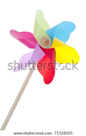 Colorful Pinwheel Isolated on White with a Clipping Path.