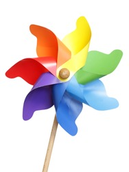 Colorful pinwheel isolated on white with clipping path