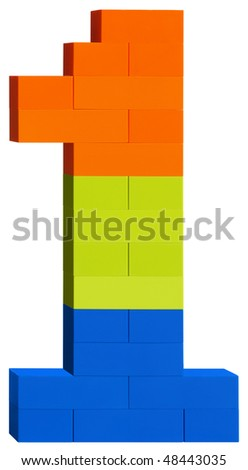Colorful plastic blocks forming the number one. Clipping path included