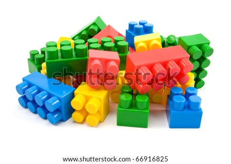 colorful plastic blocks isolated on white background