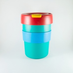 colorful plastic coffee cup on white background,keep or reusable cup