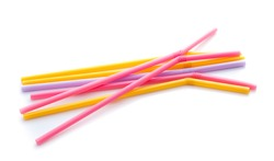 colorful plastic drinking straws isolated over the white background