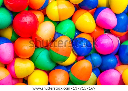 colorful plastic egg in water pool #1377157169
