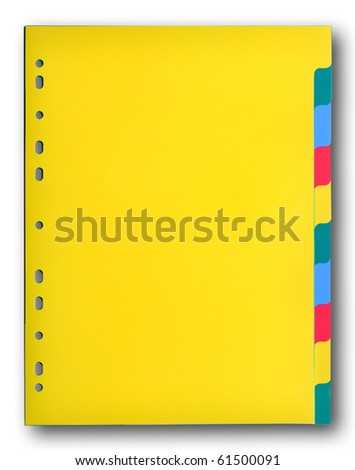 Colorful plastic index sheet on white background