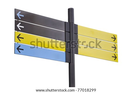 Colorful plastic informational signs with arrows. Show the direction. Isolation on white background.
