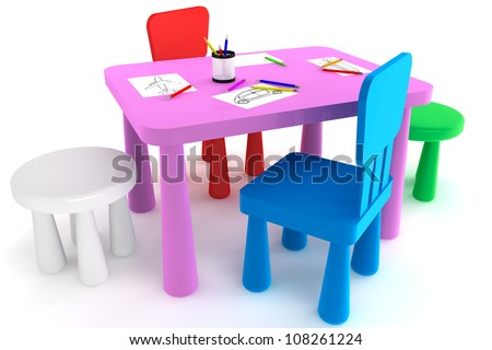 Colorful Plastic Kid Chairs And Table On A White Background Stock Photo 108261224 Shutterstock