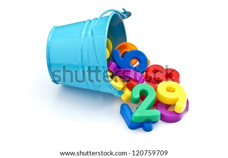 Colorful plastic numbers in little blue bucket isolated on white background