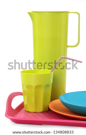 colorful plastic tableware - stock photo