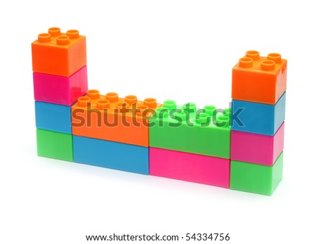 Colorful plastic toy bricks