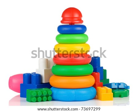 colorful plastic toys and bricks isolated on white background - stock photo