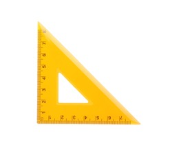 Colorful plastic triangular ruler isolated on white, top view. School stationery