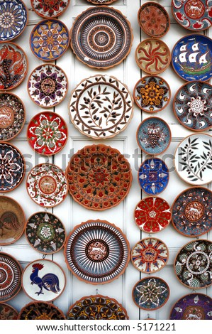 colorful plates in Pottery shop in Rhodes, Greece.