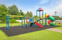 Colorful playground on yard in the park.