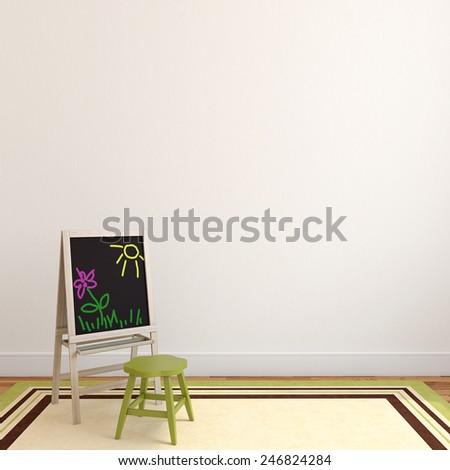Colorful playroom interior. 3d render. #246824284