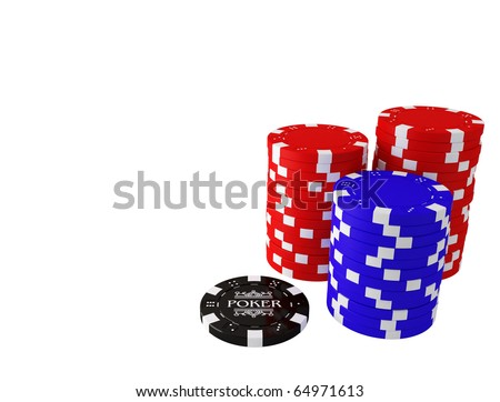 Colorful poker chips on white