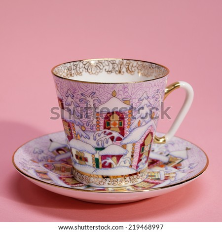 colorful porcelain  tea cup and ...