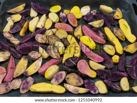 colorful potatoes, old varieties, on a baking tray