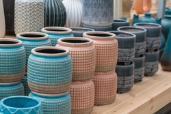 Colorful pottery and porcelain vases and flower pots
