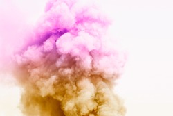 Colorful powder explosion.Colored cloud. Colorful dust explode.Paint Holi.Bomb smoke background,Smoke caused by explosions