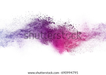 Colorful powder explosion on white background. #690994795